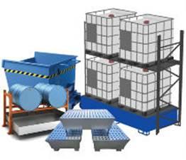 STOCCAGGIOAttrezzatura per lo stoccaggio in sicurezza di fusti, taniche e cisternette contenenti prodotti dannosi.